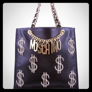 Moschino Chain Dollar Sign Black Leather Bag NEW!